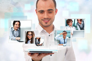 Virtual meeting technology for global business concept